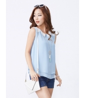 ガーベラレディース 韓国風 ファッション コーデアイテム ステンカラー 袖なし ブラウス mb12219-2