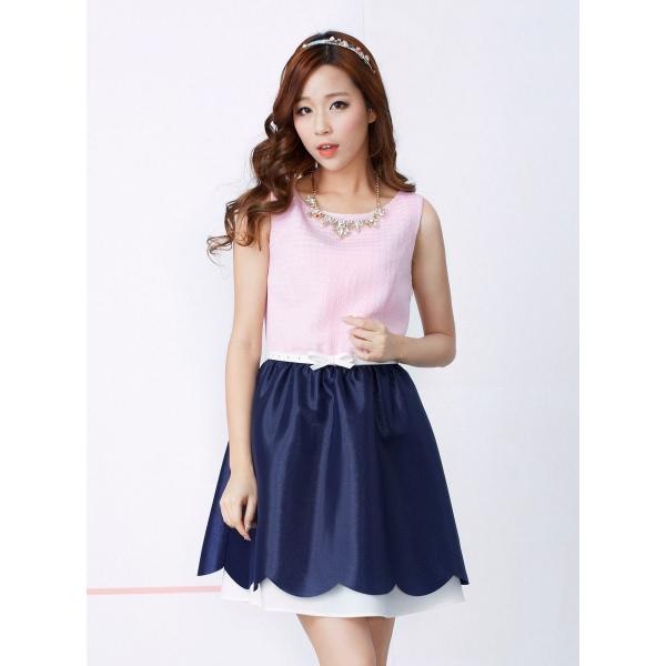 ガーベラレディース 韓国風 ファッション 袖なし ミニワンピース ミニドレス ウエストバンド特典付き mb12220-1