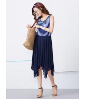 ガーベラレディース 韓国風 セーラー風 ボーダー 不規則裾 着やせ 袖なし ひざ丈ワンピース ミディワンピース mb12236-1