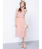 ガーベラレディース 韓国風 ダブルレイヤー シフォン 大きい裾 プリーツ 袖なし ひざ下ワンピース mb12274-2