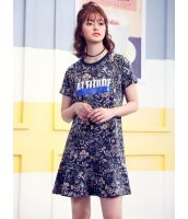 ガーベラレディース 韓国風 ファッション 花柄 文字入り 丸首 ストレート ミニワンピース mb12281-2