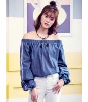 ガーベラレディース 韓国風 ファッション ボートネック 長袖 ゆったり ブラウス mb12296-1