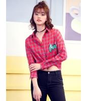 ガーベラレディース 韓国風 ファッション 文字入り クラシック ショート丈 格子 長袖 シャツ mb12309-1