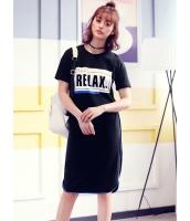 ガーベラレディース 韓国風 ファッション スポーティ 文字入り 丸首 ひざ下ワンピース mb12311-1