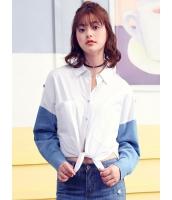 ガーベラレディース 韓国風 ファッション シンプル ハイロー スリット入り 長袖 シャツ mb12313-1