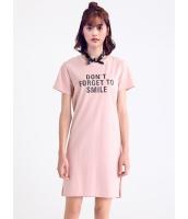 ガーベラレディース 韓国風 ファッション 側面スリット 文字入り 半袖 ストレート ミニワンピース mb12314-1