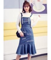 ガーベラレディース 韓国風 ファッション フィッシュテール フレア裾 デニム サロペット mb12324-1