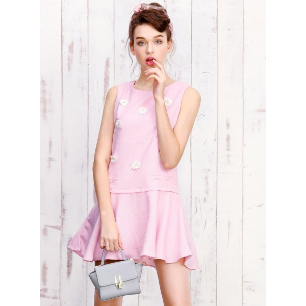 ガーベラレディース ミニワンピース 袖なしワンピース フレアワンピース  韓国風 ファッション mb12377-2