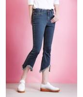 ガーベラレディース ジーンズ デニムパンツ サブリナパンツ  ファッション 着やせ トレンディ スリット入り フリンジ mb12442-1