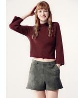 ガーベラレディース セーター 七分袖  欧米風 ファッション シンプル 柔らか リラックス 着やせ タートルネック 八分丈袖 ショート丈 ニットウェア mb12476-1
