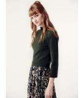ガーベラレディース セーター 七分袖  欧米風 ファッション シンプル 柔らか リラックス 着やせ タートルネック 八分丈袖 ショート丈 ニットウェア mb12476-2