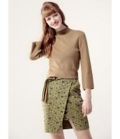 ガーベラレディース セーター 七分袖  欧米風 ファッション シンプル 柔らか リラックス 着やせ タートルネック 八分丈袖 ショート丈 ニットウェア mb12476-3