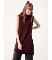ガーベラレディース セーター 袖なし  韓国風 ファッション 柔らか 袖なし ハイロー タートルネック ニットウェア mb12486-1