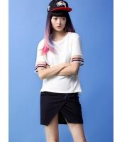 ガーベラレディース Tシャツ・カットソー 半袖  韓国風 ファッション 丸首 プリーツ レース 五分袖 シンプル mb12492-1