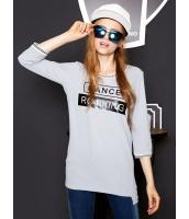 ガーベラレディース Tシャツ・カットソー 七分袖  韓国風 ファッション ストリートファッション 文字入り ロング丈 リラックス mb12538-1