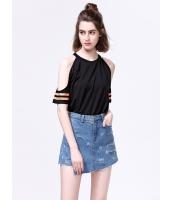 Tシャツ・カットソー 韓国風 セクシー 丸首 肩穴 mb12735-1