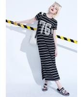 ロング・マキシ丈ワンピース 半袖 タイトワンピース 欧米風 ストリートファッション クラシック 白黒ボーダー mb13991-1