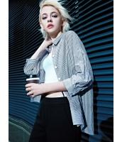 シャツ 長袖 欧米風 ストリートファッション クラシック 白黒ボーダー 個性派 トレンディ 文字入り 刺繡入り mb13997-1