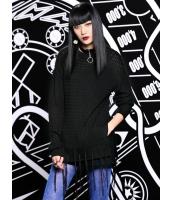 セーター 長袖 欧米風 ストリートファッション パンク風 ドロップショルダー スリット フリンジ裾 丸首 mb14125-1