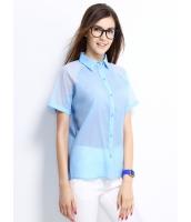 ガーベラレディース シャツ 半袖 シンプル シースルー mb14292-1