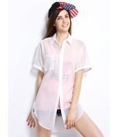 ガーベラレディース シャツ 半袖 シンプル シースルー mb14301-2