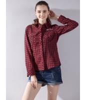 ガーベラレディース シャツ 長袖 学生風 刺繡入り 格子 着やせ mb14405-2