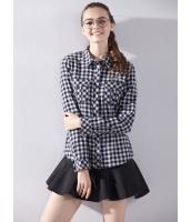 ガーベラレディース シャツ 長袖 学生風 刺繡入り 格子 着やせ mb14405-3