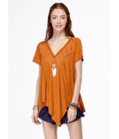 ガーベラレディース ブラウス 半袖 オレンジ 刺繡入り イレギュラー裾 mb14466-1