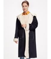 ガーベラレディース ロングコート 紺色 ファー襟 mb14508-1
