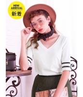 ガーベラレディース Tシャツ カットソー 韓国風 シンプル Vネック mb14639-1