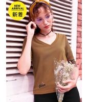 ガーベラレディース Tシャツ カットソー 韓国風 シンプル Vネック mb14639-2