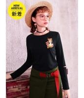 ガーベラレディース Tシャツ カットソー 長袖 韓国風 ホロー 丸首 mb14656-1
