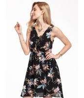 ガーベラレディース ミニワンピース 袖なし フレアワンピース 花柄 イレギュラーヘム mb14744-1