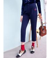 ガーベラレディース クラシック ボーダー 花柄 刺繡入り 着やせ カジュアル サブリナパンツ Koreanスタイル mb15244-1
