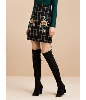 ガーベラレディース シンプル 格子 刺繍 コーデアイテム ミニAライン タイトスカート ミニスカート mb15363-1