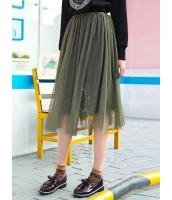 ガーベラレディース 韓国風 レース ゴムウエスト ギャザースカート 膝丈スカート Koreanスタイル mb15366-2