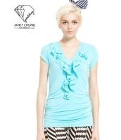 ガーベラレディース 襟口 ぺプラム裾 Tシャツ・カットソー 半袖 mb15401-2