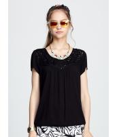 ガーベラレディース 襟口 刺繍 Tシャツ・カットソー 半袖 mb15428-1