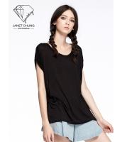 ガーベラレディース エスニック調 カジュアル 個性的 エレガント ブラック Tシャツ・カットソー 半袖 mb15514-1