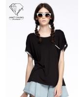 ガーベラレディース 着やせ ブラック 個性派 スポーティ Tシャツ・カットソー 半袖 mb15530-1