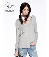 ガーベラレディース 着やせ グレー 個性派 スポーティ Tシャツ・カットソー 長袖 mb15533-1