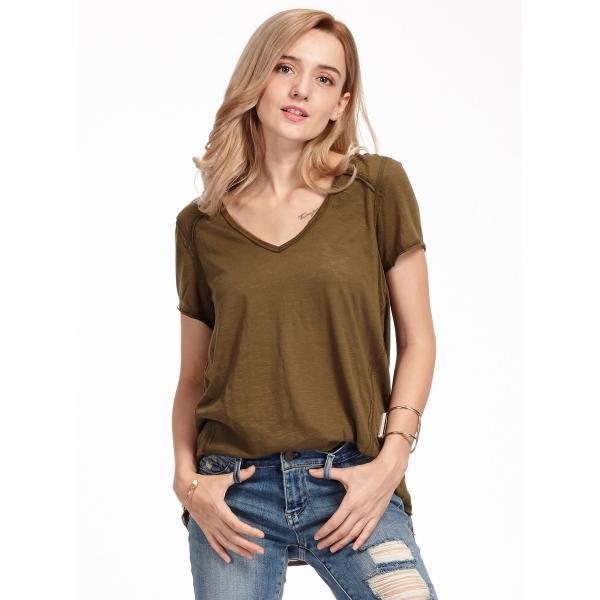 ガーベラレディース Vネック ゆったり ベーシック Tシャツ・カットソー 半袖 mb15599-1
