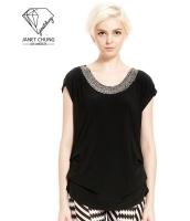 ガーベラレディース 襟口 ブラック Tシャツ・カットソー 半袖 mb15641-1