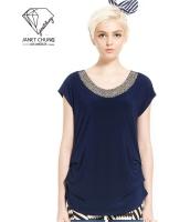 ガーベラレディース 襟口 ブルー Tシャツ・カットソー 半袖 mb15642-1