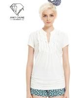 ガーベラレディース ホワイト ぺプラム裾 Vネック Tシャツ・カットソー 半袖 mb15651-1