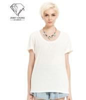 ガーベラレディース ロールアップ袖口 スパンコール Tシャツ・カットソー 半袖 mb15660-1