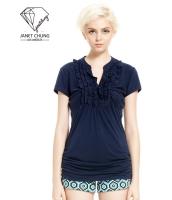 ガーベラレディース 紺色 ぺプラム裾 Vネック Tシャツ・カットソー 半袖 mb15675-1