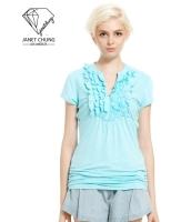 ガーベラレディース ぺプラム裾 Vネック Tシャツ・カットソー 半袖 mb15676-1
