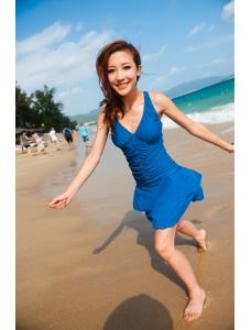 【即納】TKM-n4110★お急ぎ【水着】ワンピース水着 | リゾート水着☆着痩せ-【カラー:ブルー】-【サイズ:L】