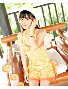 【即納】レース重ね・スタイリッシュタンキニ&ミニスカートセット-tk-n4619-or-l-628-【カラー:オレンジ】-【サイズ:L】